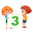 children holding number three card vector image vector image