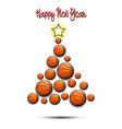 christmas tree from basketball balls vector image vector image