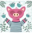 cute winter pig - children vector image vector image