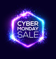 cyber monday sale background with neon light vector image