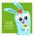 Easter greeting card template with bunny holding vector image vector image
