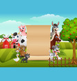 farm animals with a blank sign paper vector image