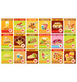 fast food price tags with international dishes vector image vector image