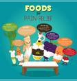 foods for pain relief infographic vector image vector image