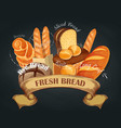 fresh bread baking shop emblem vector image vector image