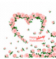 hand drawn roses heart vector image