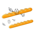 Happy cartoon baguette character with waving hands vector image
