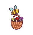 happy flying bee carries a basket with mushrooms vector image vector image