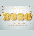 happy new year 2020 golden numbers with ribbons vector image