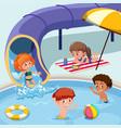 kids playing at swimming pool vector image vector image