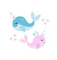little whale unicorn set modern cartoon style vector image