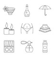 mistress icons set outline style vector image vector image