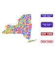 mosaic map of new york state and distress stamps vector image vector image