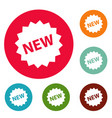 new sign icons circle set vector image vector image