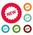 new sign icons circle set vector image