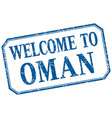 oman - welcome blue vintage isolated label vector image vector image