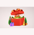 open red gift box with decorative christmas items vector image vector image