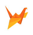 orange crane bird made paper in origami vector image