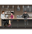 people sitting in bar or pub vector image vector image