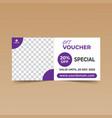 purple gift voucher design template vector image vector image