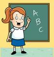 schoolgirl blackboard vector image vector image