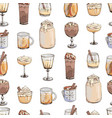 seamless pattern with hot winter drinks vector image vector image