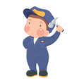 Service Worker in Blue Work wear with Hammer vector image