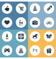 set simple holiday icons vector image vector image