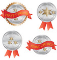 silver metal product quality badge vector image vector image