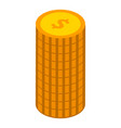 stack of coins icon isometric style vector image vector image