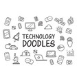 technology doodles hand drawn icons vector image