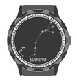 The watch dial with the zodiac sign Scorpio vector image