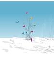 winter landscape colorful birds in tree vector image vector image