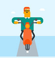 young caucasian white man riding a motorcycle vector image vector image