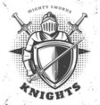 vintage monochrome knights template vector image