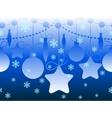 Christmas seamless horizontal blue pattern vector image