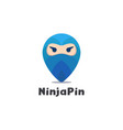 abstract ninja pin logo icon on white background vector image