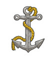 anchor and rope sketch vector image vector image