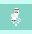 arab businessman sitting on wifi symbol and using vector image