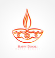 artistic diwali diya isolated on white background vector image vector image
