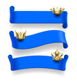 blue ribbons with gold crowns vector image vector image