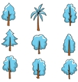Blue tree style on doodles vector image vector image