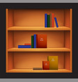 bookshelf and books with different covers vector image vector image