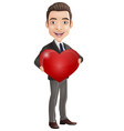 cartoon happy young businessman holding red heart vector image vector image