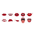 cartoon icons set isolated cute mouth expressions vector image
