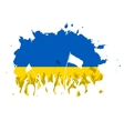 Celebrating Crowd with Ukrainian flag vector image vector image