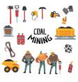 coal mining industry set working miners vector image