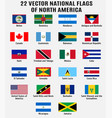 collection 22 national flags north vector image