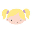colorful girl head with two tails hair vector image vector image
