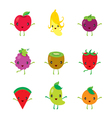 Cute Cartoon Characters Design Set Of Fruits vector image